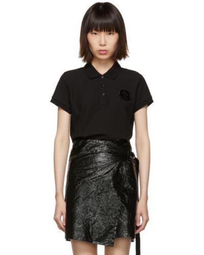 Bawełna czarny koszulka polo z haftem krótkie rękawy Moncler