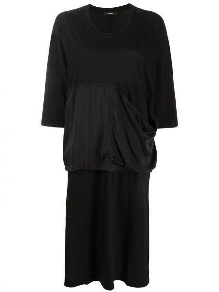 Шелковое черное платье мини оверсайз Diesel