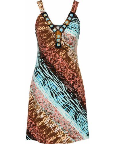 Бирюзовое платье с аппликациями Bonprix