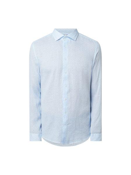 Koszula slim z długimi rękawami turkusowa Seidensticker