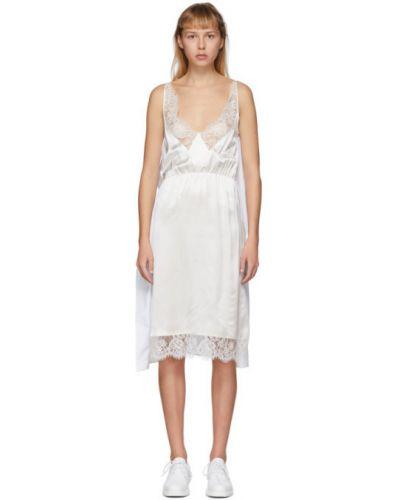 Кружевное белое платье без рукавов с воротником Mm6 Maison Margiela
