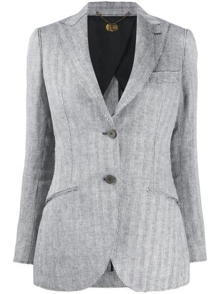 Серая куртка на пуговицах свободного кроя с карманами Maurizio Miri