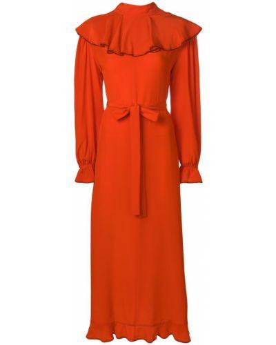 Шелковое платье миди - оранжевое Sonia Rykiel