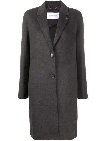 Однобортное серое шерстяное длинное пальто Calvin Klein
