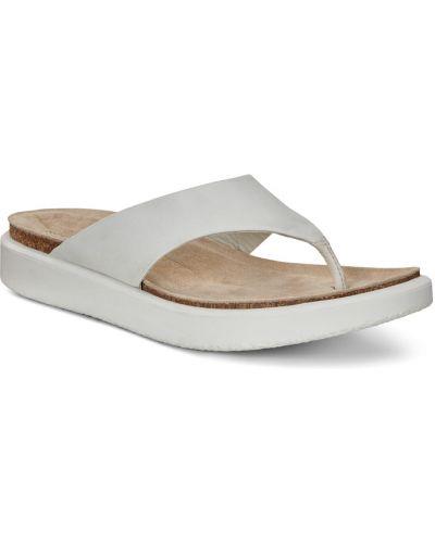 Шлепанцы на каблуке белые Ecco