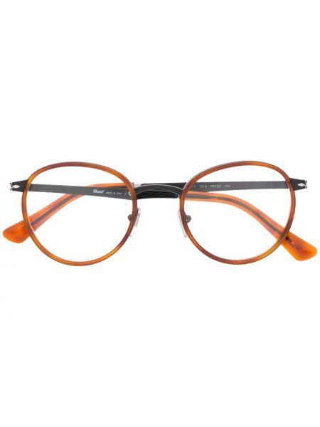 Прямые желтые очки для зрения круглые металлические Persol