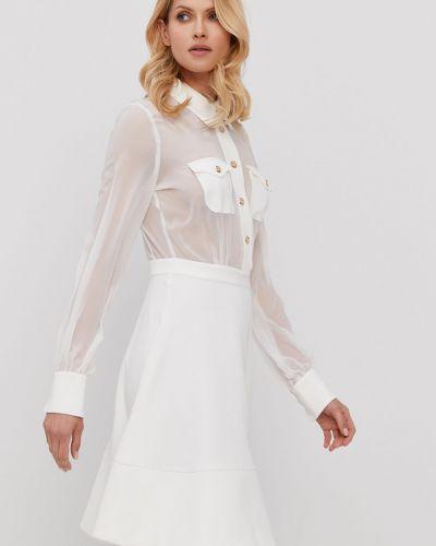Biała sukienka koktajlowa rozkloszowana dzianinowa Marciano Guess