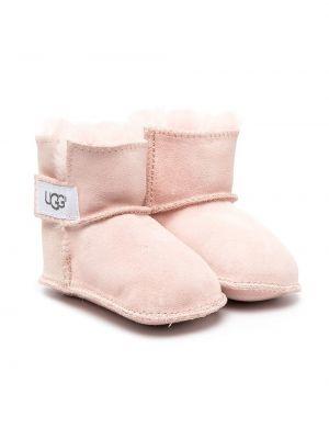 Розовые кожаные угги без застежки Ugg Kids