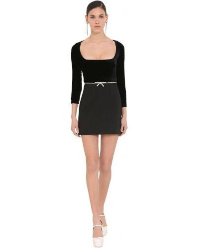 Бархатное платье мини - черное Miu Miu