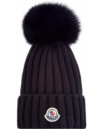 Шерстяная черная шапка с помпоном в рубчик Moncler