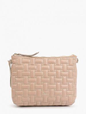 Бежевая сумка через плечо из натуральной кожи Marina Creazioni