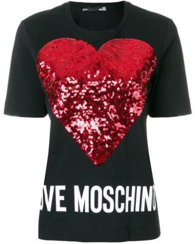 Футболка хлопковая с принтом Love Moschino