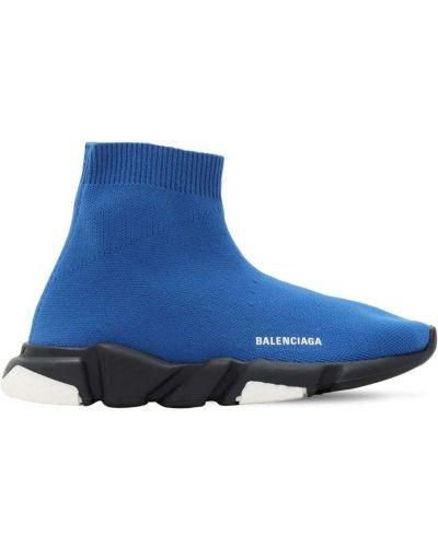 Prążkowane niebieskie sneakersy Balenciaga