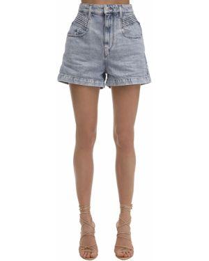 Хлопковые с завышенной талией джинсовые шорты с карманами Isabel Marant étoile