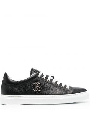 Кожаные черные кроссовки на шнурках Roberto Cavalli