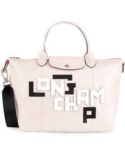 Розовый кожаный ранец с карманами Longchamp