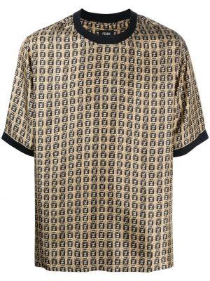 Шелковая футболка - коричневая Fendi
