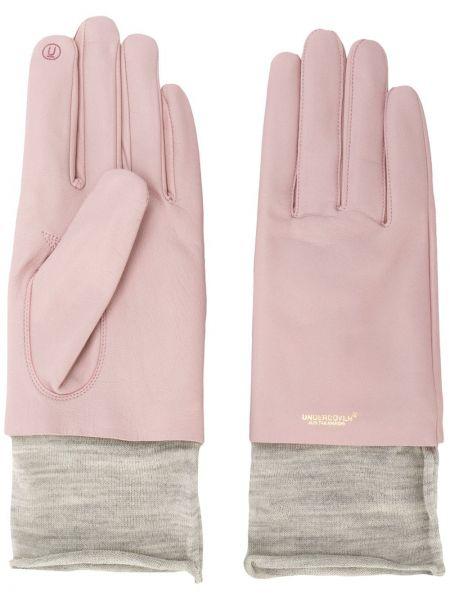 Różowe rękawiczki wełniane z haftem Undercover