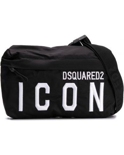 Черная сумка на плечо на молнии с карманами Dsquared2 Kids
