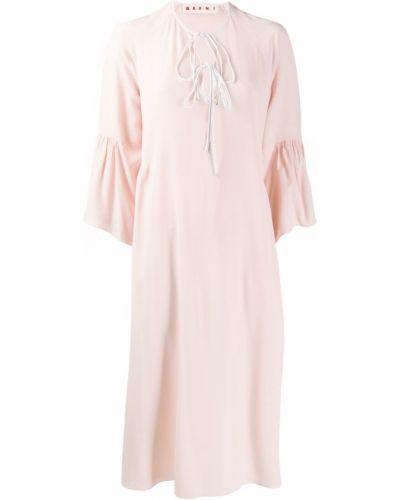 Платье миди розовое с завышенной талией Marni