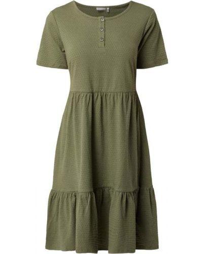 Zielona sukienka mini rozkloszowana z falbanami Fransa