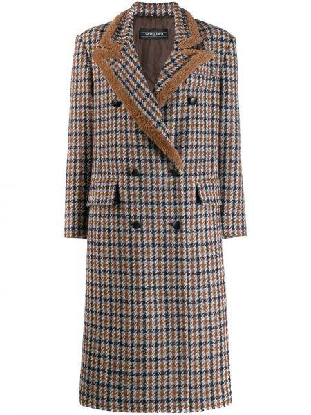 Шерстяное пальто с воротником в клетку Simonetta Ravizza