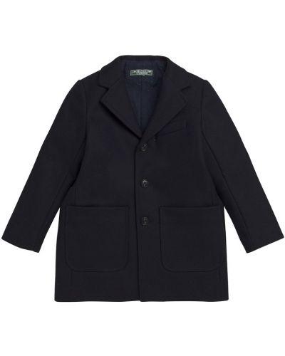 Синее однобортное шерстяное пальто с воротником Bonpoint