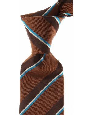 Brązowy krawat w paski z jedwabiu Kenzo