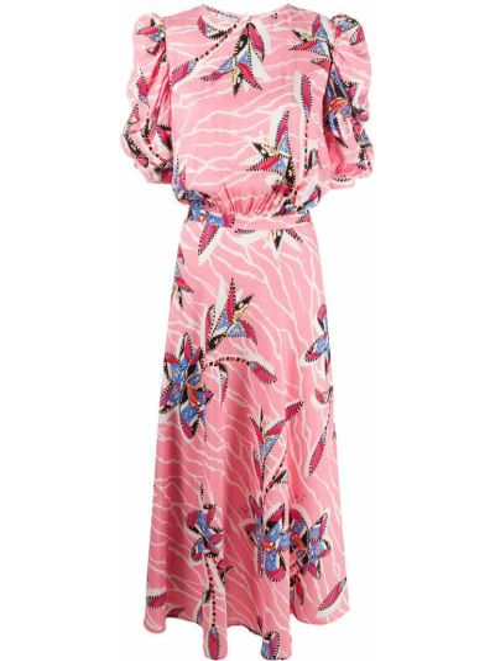 Розовое платье миди с короткими рукавами из вискозы Stella Jean