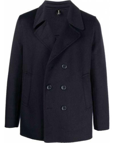 Niebieski długi płaszcz wełniany Palto