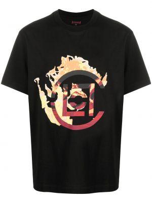 Czarny t-shirt bawełniany krótki rękaw Clot