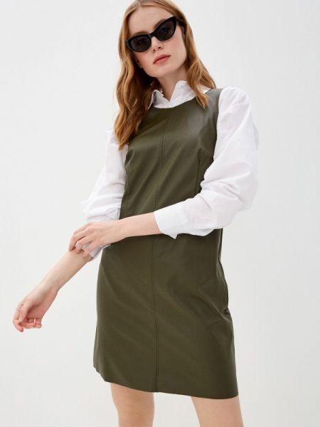 Платье кожаное зеленый Trendyol