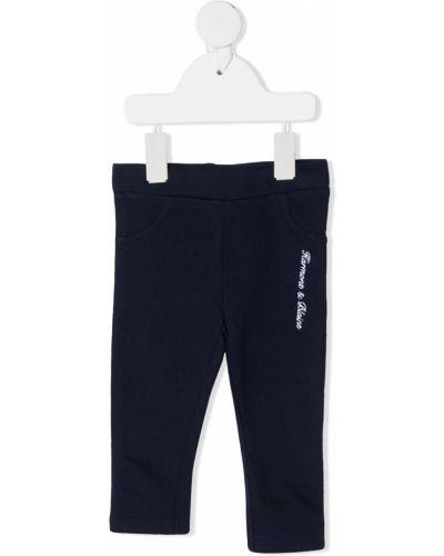 Синие хлопковые леггинсы с вышивкой стрейч Harmont & Blaine Junior