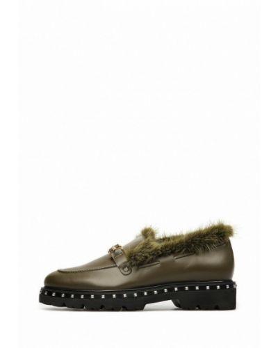 Кожаные туфли хаки Preppy