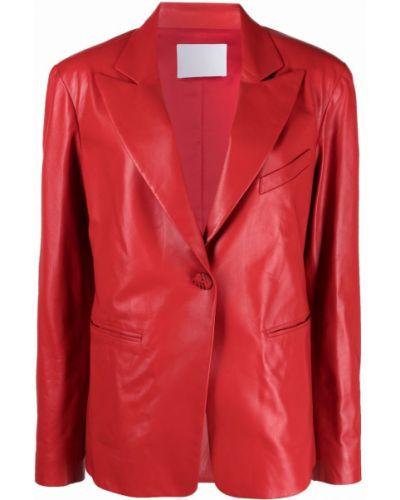 Однобортный красный кожаный удлиненный пиджак Drome