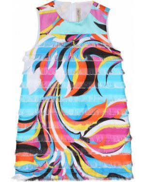 Sukienka z nadrukiem satyna Emilio Pucci Kids
