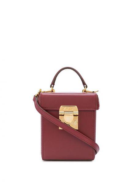 Кожаная золотистая красная маленькая сумка с подкладкой Mark Cross