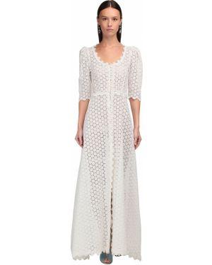 Приталенное ажурное льняное платье макси Luisa Beccaria