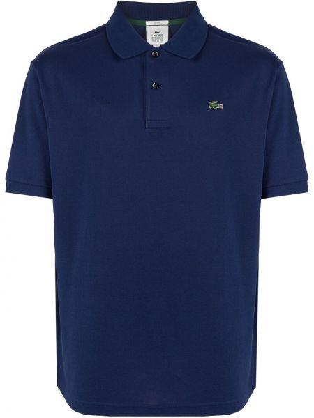 Niebieska koszula krótki rękaw bawełniana Lacoste Live