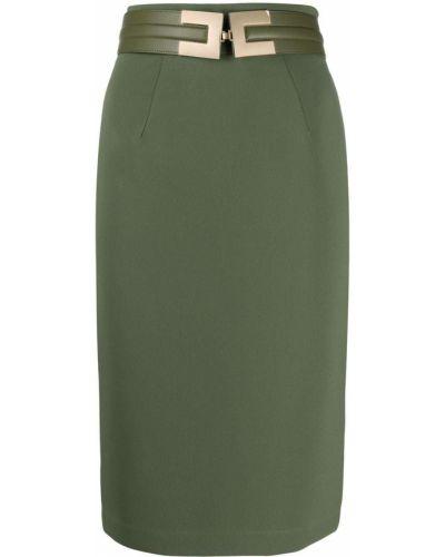 Зеленая кожаная с завышенной талией юбка карандаш с поясом Elisabetta Franchi