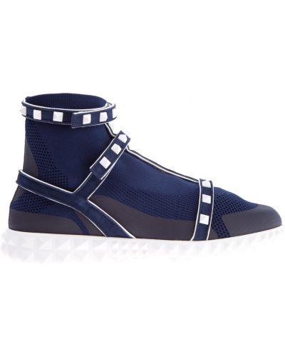 Кроссовки бархатные с узором Valentino