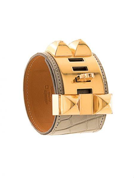 Кожаный браслет золотой с шипами Hermes