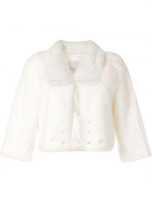 Белая шуба из искусственного меха на пуговицах Unreal Fur