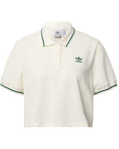 Biały t-shirt bawełniany w paski Adidas Originals