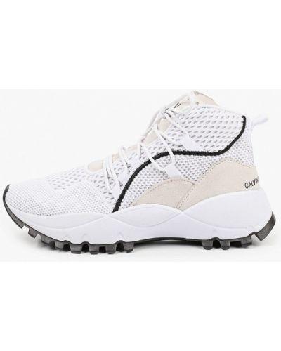 Кожаные белые высокие кроссовки Calvin Klein