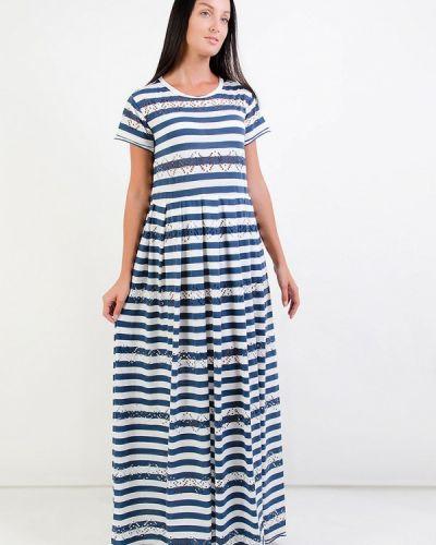 Повседневное платье осеннее синее Kriza