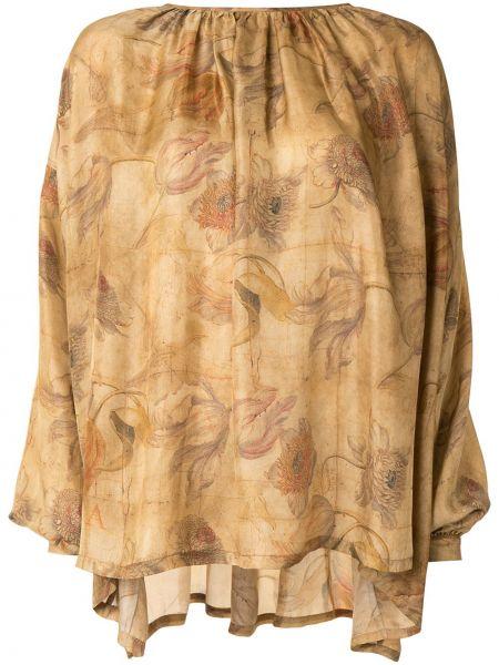 Brązowy światło jedwab z rękawami bluzka Uma Wang