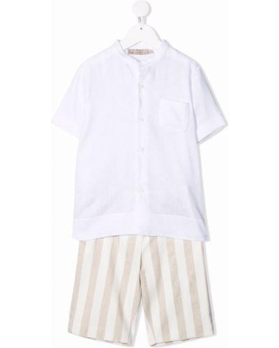 Biały garnitur krótki rękaw bawełniany La Stupenderia
