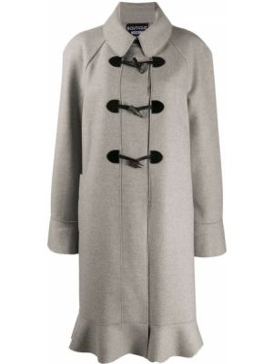 С рукавами серое шерстяное пальто классическое с воротником Moschino Pre-owned