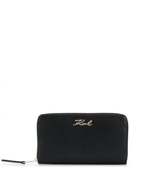 Кожаный кошелек на молнии золотой Karl Lagerfeld